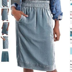 J Crew Pull On Blue Velvet Pockets Skirt S Petite